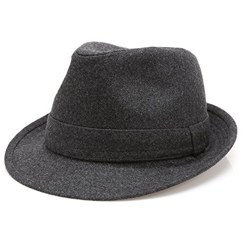 (MIRMARU Men's Wool Blend Short Brim Trilby Fedora Hat with)