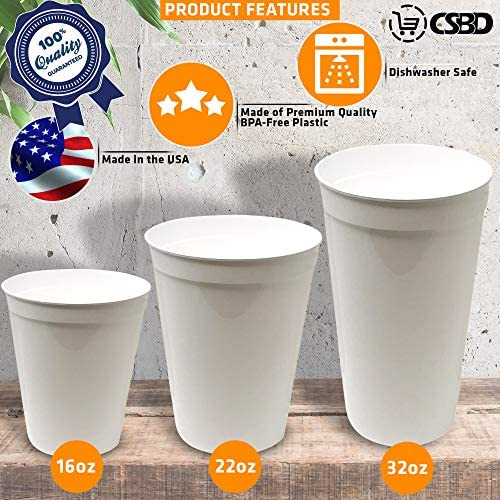 CSBD Stadium 16 oz. Plastic Cups, 10 Pack, Blank Reusable Drink Tumblers for Parties, Events, Marketing, Weddings, DIY Projects or BBQ Picnics, No BPA (Black) 3