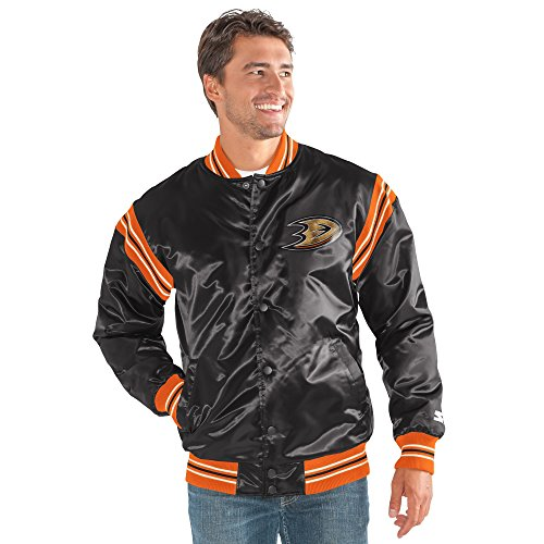 STARTER NHL Anaheim Ducks Men's The Enforcer Satin Jacket, Medium, (Throwback Jersey Jacket)