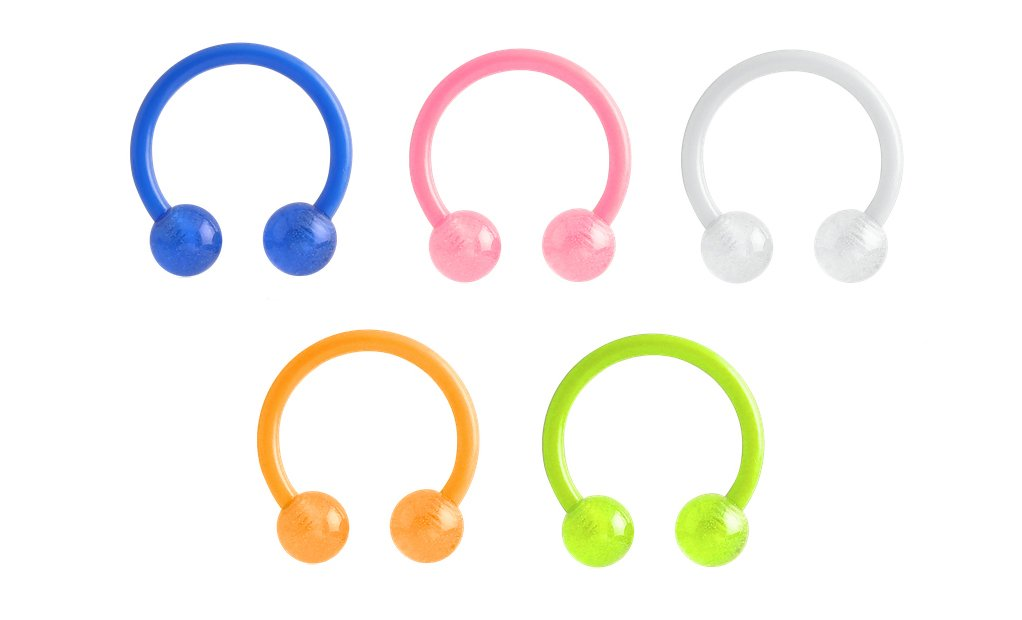 5 pc lot Blue, Orange, Yellow, Pink, White Glow in the Dark Flexible horseshoe lip, belly, nipple, cartilage, tragus, earring hoop 14g
