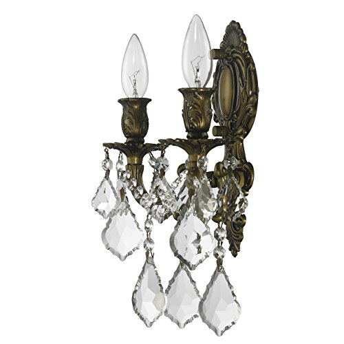 Worldwide Lighting W23313B12 Versailles 2 Light Candle Wall Sconce, Antique Bronze Finish and Clear Crystal, Medium Fixture, 12'' W x 13'' H by Worldwide Lighting (Image #5)