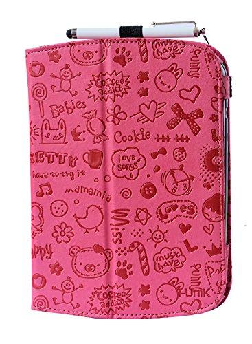 (i-UniK Leapfrog Epic & Leapfrog Epic Academy Edition Case Custom Folio Kickstand Hand Strap Tablet case for Leapfrog Epic Tablet Bonus Stylus (Cute Pink))