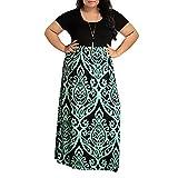Womens Dresses Clearance! Women's Print Summer Patchwork Short Sleeve Plus Size Casual Long Maxi Dress (2XL, Green)