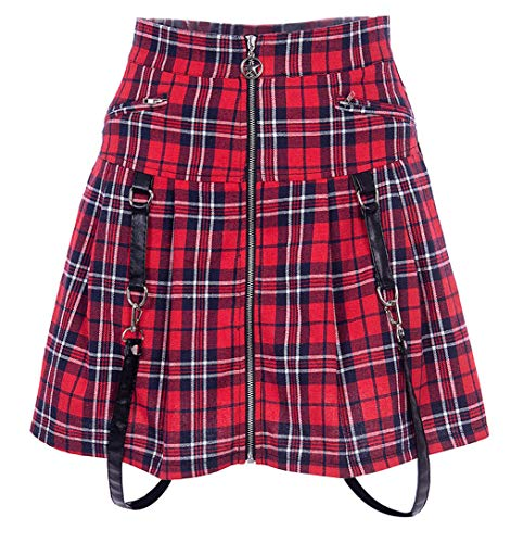 Women's High Waist Punk Rock Zip Up Gothic Pleated Skirt Red Plaid Solid Black Mini Skirt (M, Red) ()