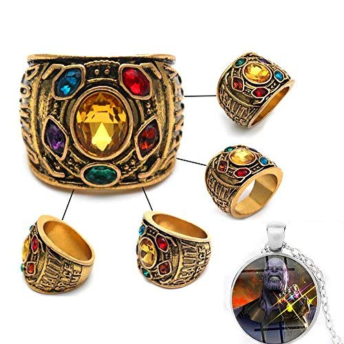 Hot Avengers Infinity War Thanos Golden Gauntlet Metal Ring Costume Accessory with Cosplay Necklace Pendants (8)]()
