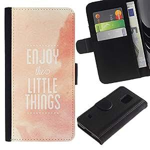 Be Good Phone Accessory // Caso del tirón Billetera de Cuero Titular de la tarjeta Carcasa Funda de Protección para Samsung Galaxy S5 V SM-G900 // Enjoy Little Things Quote Positivity Life