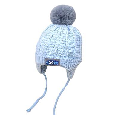 Mitlfuny Niños Niñas Sombreros de Punto Gruesa para Bebé Invierno Caliente Gorro de Lana Orejeras Color