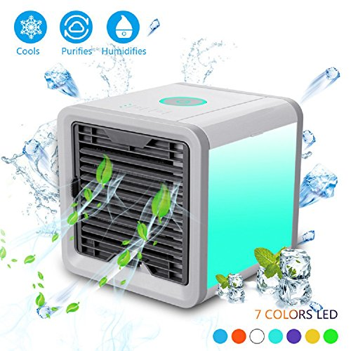 4in 1 Air Cooler - PONOBO Personal Space Air Coolers 4 in 1 USB Mini Portable Air Conditioner Cooling Humidifying and Purifying Air and 7 Colors LED Night Light 6.5 inches Desktop Cooling Fan for Office Home Outdoor