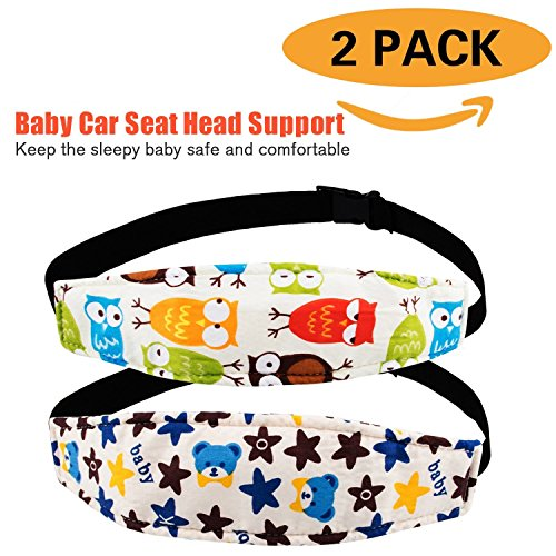 Pack of 2, Baby Kids Safety Head Support Band and Toddler Car Seat Neck Relief, Adjustable Car Seat Sleeping Head Support Strap, Offers Protection and Safety for Children (Blue Bear + Yellow Owl)