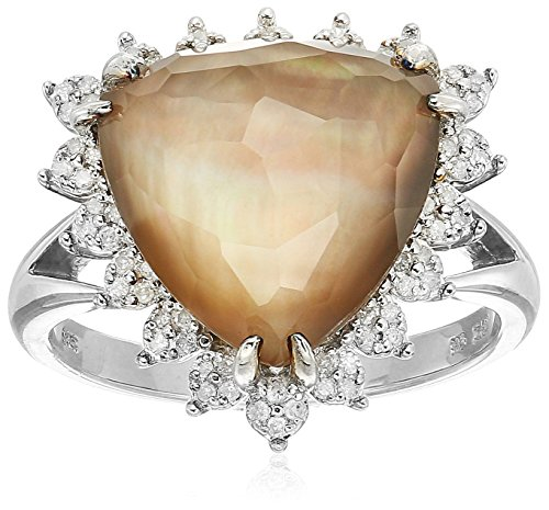 - Sterling Silver Clear Quartz Over Brown Mother-Of-Pearl Doublet Halo Diamond Ring (1/5 cttw, I-J Color, I2-I3 Clarity), Size 7