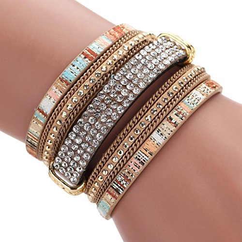Womens Costume Jewelry (Welcomeuni Women Bohemian Bracelet Woven Braided Handmade Wrap Cuff Magnetic Clasp (Gold))