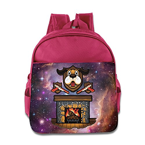 Price comparison product image Dog Fireplace Christmas Kids Backpack School Bag For Boys/girls Pink
