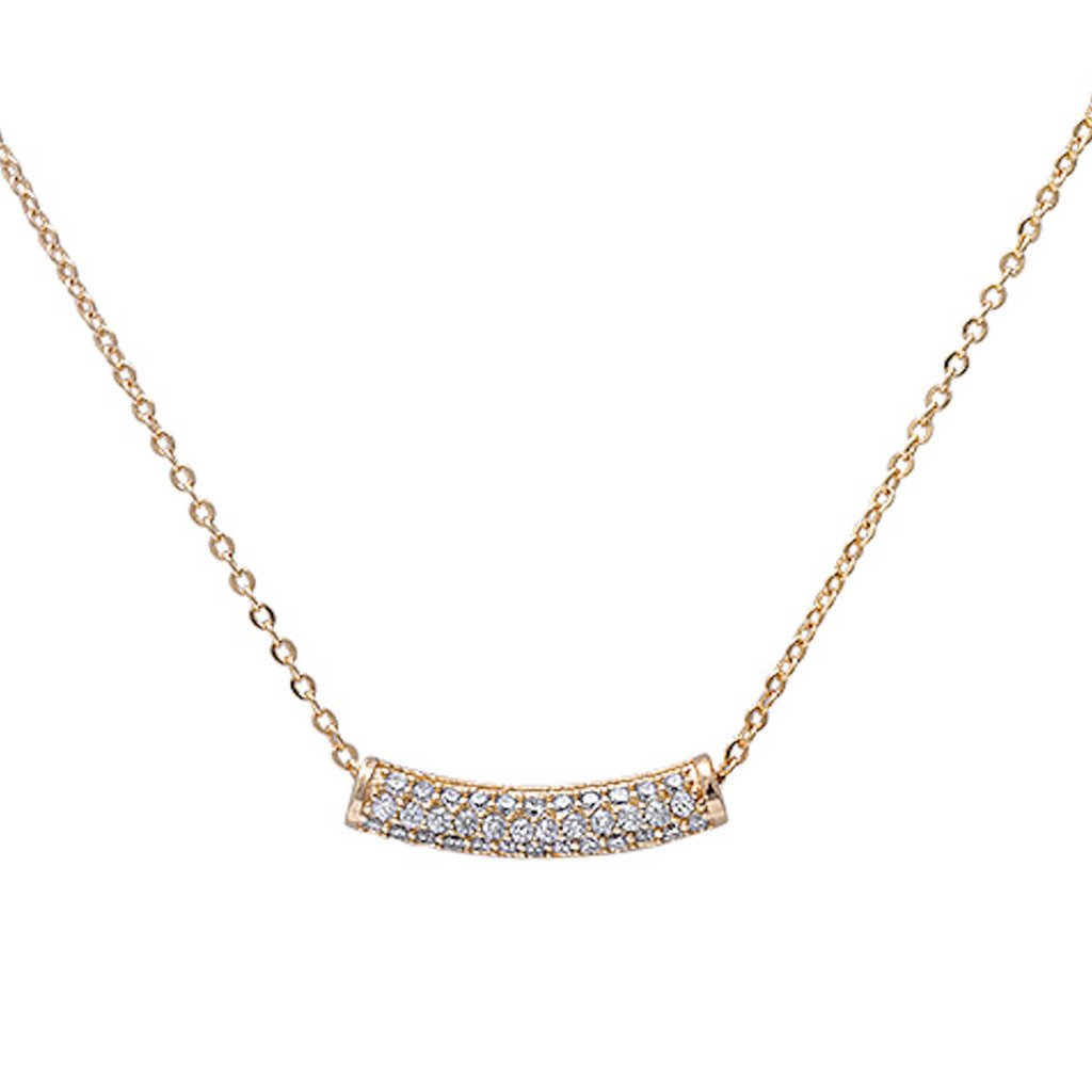 Micro Pave Dainty Pendant Necklace .925 Sterling Silver Cubic Zirconia 16inch with 1inch Extension