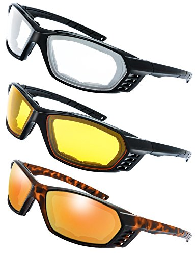 190495ea49 3 Pairs Motorcycle Riding Glasses Padded Frame Lens Block 100% UVB for  Outdoor Activity Sport (7-Shiny Black Tortoise