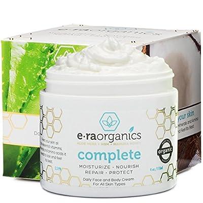 Era Organics Natural Face Moisturizer Cream - Advanced 10-In-1 Non Greasy Daily Facial Cream with Aloe Vera, Manuka Honey, Coconut Oil, Cocoa Butter and More For Oily, Dry, Sensitive Skin by Era Organics