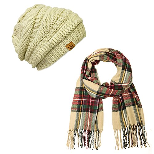 (Wrapables Plaid Print Long Winter Warm Scarf and Beanie Hat Set, Red and Green)