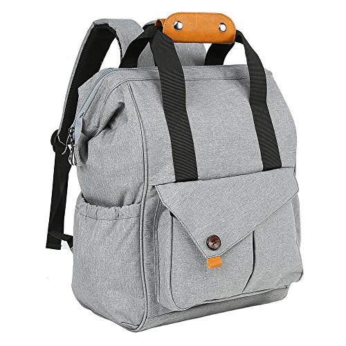 Back Pocket - Diaper Bag Backpack with Insulated Pockets, Anti-theft Multi-Function Travel Maternity Back Pack, Large Capacity Baby Nappy Changing Bag For Mom & Dad, Wide Open Designed Stylish And Durable, Gray