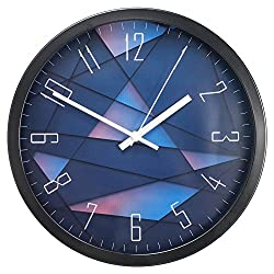 Decorative Wall Clock, SkyNature Large Indoor Non-Ticking Silent Quartz Modern Simple Wall Clock with Metal Frame for Home/Office/School 12 Inch (Purple)