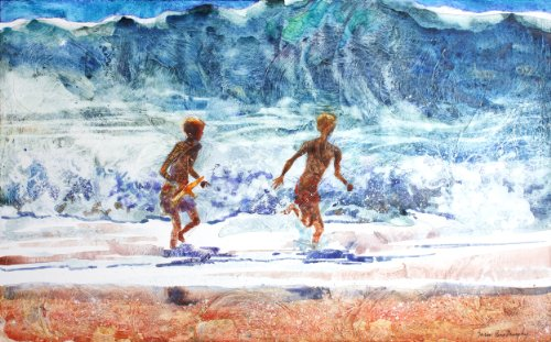 Susan Avis Murphy Beach Boys, Giclee Print of Watercolor Seascape, Picture of Two Boys Playing in the Waves at the Ocean, 13 X 20 Inches