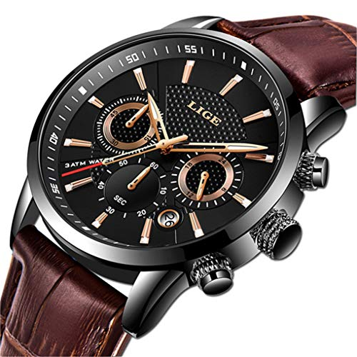 LIGE Men's Watches Fashion Luxury Business Analog Quartz Chronograph Watch for Men Classic Casual Waterproof Watch Brown Black Leather Gents Dress Watch (Best Luxury Watches 2019)