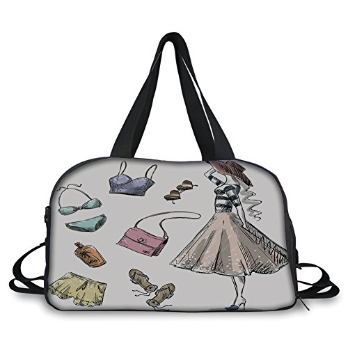 iPrint Travel handbag,Heels and Dresses,Collection of Summer Fashion Clothing and Accessories with Young Woman Decorative,Multicolor ,Personalized from iPrint