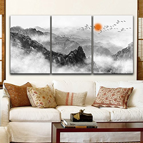 3 Panel Chinese Ink Painting Style Mountains Among The Mist with Rising Red Sun x 3 Panels