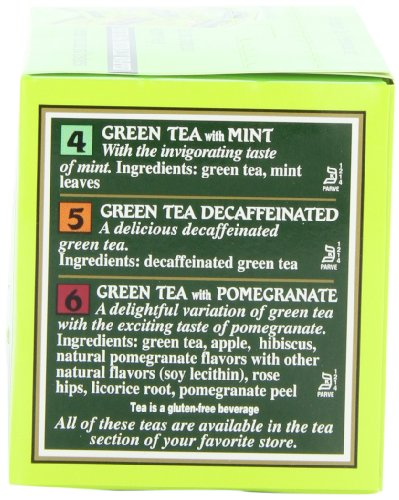 Bigelow 6 assorted green tea bags, 18-count box (pack of 6), caffeinated green tea, 108 tea bags total 3 healthy antioxidants: enjoy the health benefits of green tea with this delightful variety pack, containing: classic green tea, green tea with peach, green tea with lemon, green tea with mint, decaffeinated green tea, and green tea with pomegranate. Individually wrapped: bigelow tea always come individually wrapped in foil pouches for peak flavor, freshness, and aroma to enjoy everywhere you go! Gluten -free, calorie-free, & kosher certified; bigelow tea delivers on all the health benefits of tea. Try every flavor: there's a bigelow tea for every mood and every time of day. Rise and shine with english breakfast, smooth out the day with vanilla chai, get an antioxidant boost from green tea, or relax & restore with one of our variety of herbal teas.