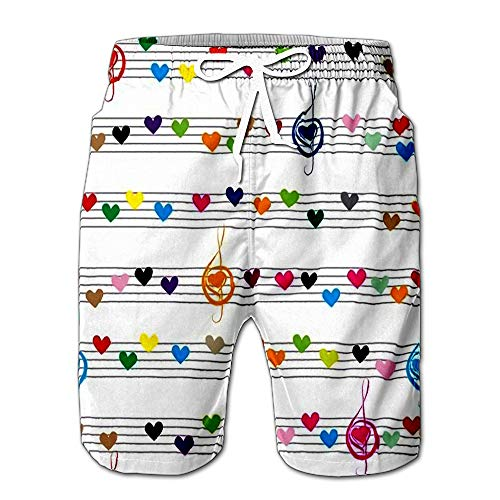 Summer Shorts Pants Music Heart Note Sound Love Texture Valentine Fabric Design Element Mens Golf Sports Shorts S (The Sound Of Summer Running Short Story)