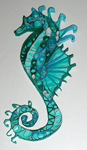 Seahorse quilled paper artwork in blue-green by Mellowood Studio