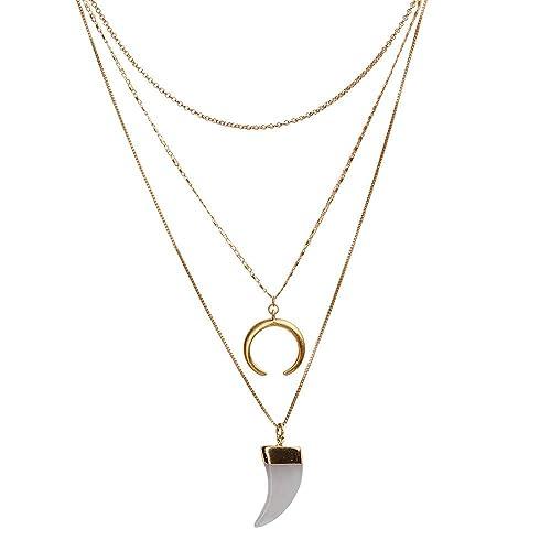 0b3e166ef10c LuckyLy – Collares Oro Mujer Demi – Collares de Mujer con 3 Capas – Diseño  Moderno