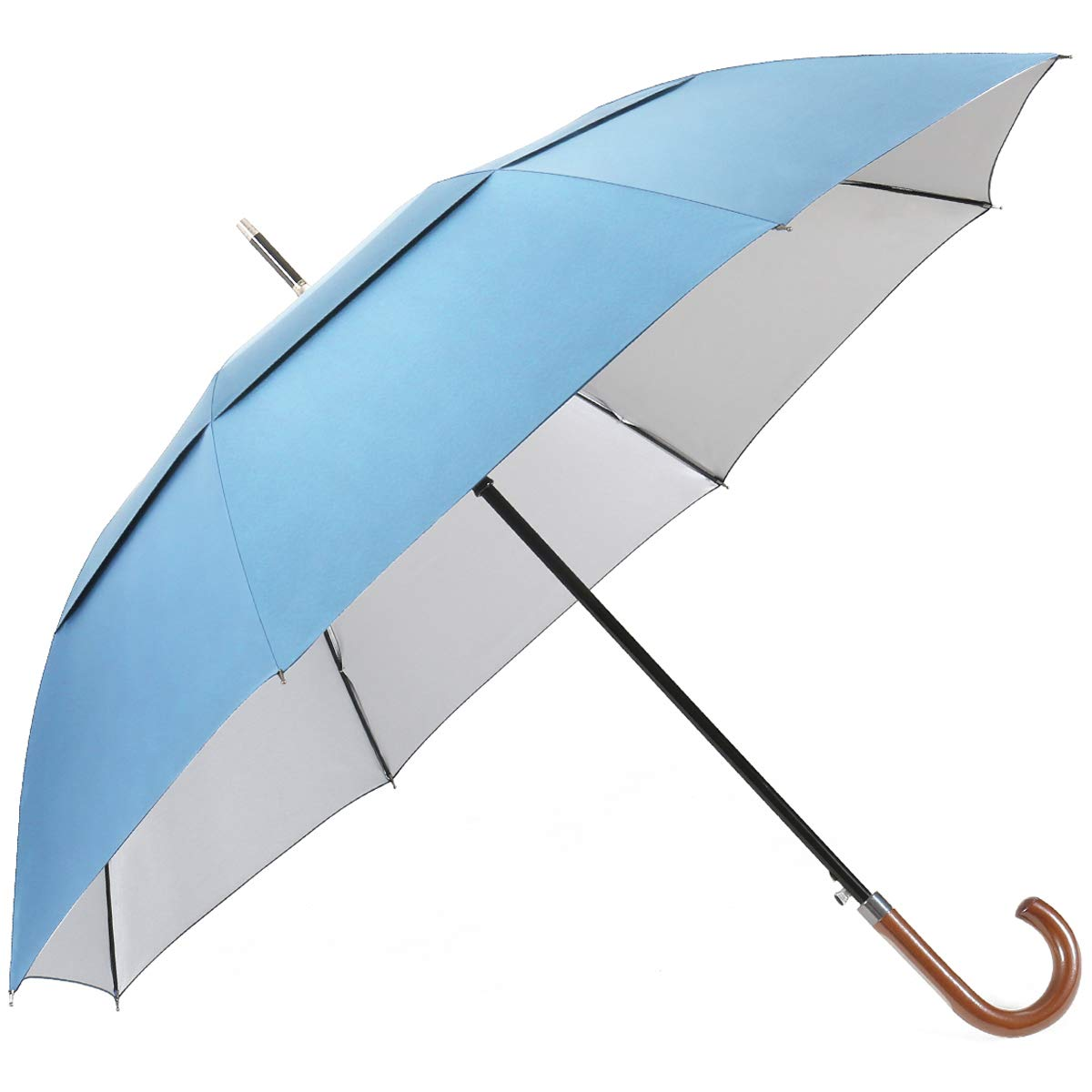 G4Free UV Hook Golf Umbrella UPF50 62inch Windproof Auto Open Large Oversized Double Canopy Vented Cane Stick Sun Block Umbrellas Men Women(Sky Blue) by G4Free