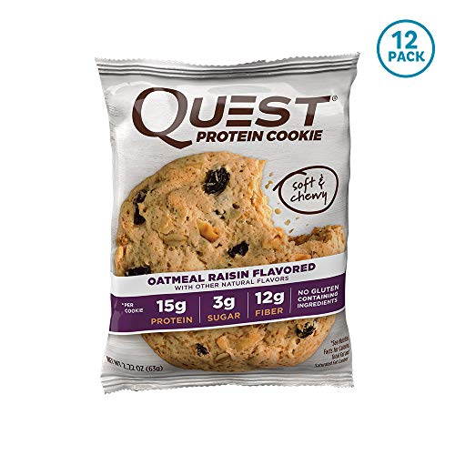 Quest Nutrition Oatmeal Raisin Protein Cookie, High Protein, Low Carb, Gluten Free, Soy Free, 12 ()
