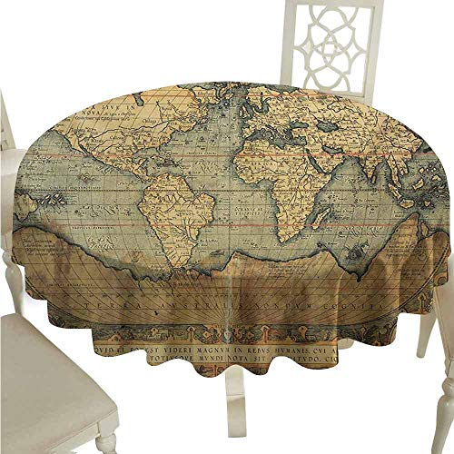 (duommhome World Map Spill-Proof Tablecloth Ancient Old Chart Vintage Reproduction of 16th Century Atlas Print Easy Care D59 Sand Brown Slate Blue)