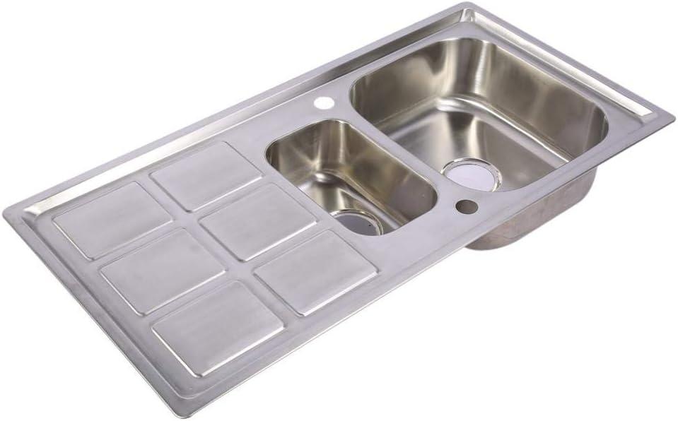 Manos Fregadero de Cocina con Accesorios para Lavar y Limpiar Alimentos Fregadero de Acero Inoxidable Cepillado Lavabo Tanque De Agua Multifunci/ón Fregadero de Cocina Verduras