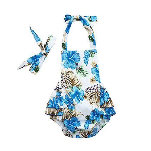 FEITONG Baby Girl's Floral Print Ruffles Romper Summer Clothes with Headband (Blue, 0-6M)