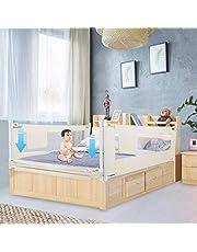 Bedhek, 150/180/200 cm, Opklapbaar bedhek, Verstelbare bedhek, Kinderbedhek, Babybedhek voor valbeveiliging voor massief houten bed (150cm / 8 dossiers)
