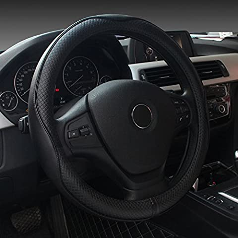 Premium Genuine Leather Steering Wheel Cover Universal 15 Inch - Anti-Slip Solid and Has Decent Traction - Has Wheels