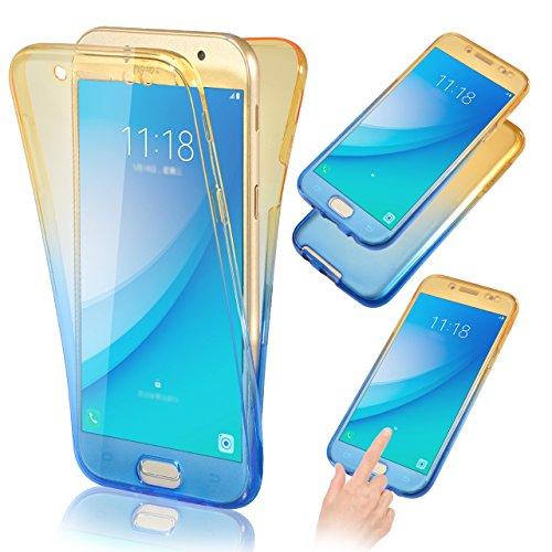 Funda tapa trasera para Galaxy J7 2017, Vandot Funda 360 Doble Delantera + Trasera Transparente Silicona Gel Integral para Galaxy J7 Pro 2017, Two Cristal Crystal Centelleo Cover Funda Caja del TPU Si JBQB 02