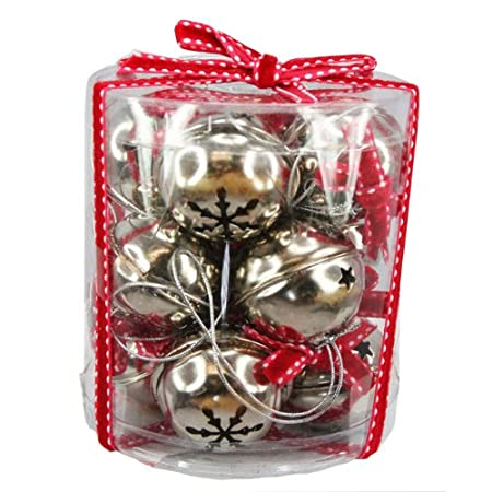 Set Of Silver Bells Christmas Decorations Small Amazoncouk Extraordinary Silver Bells Decorations