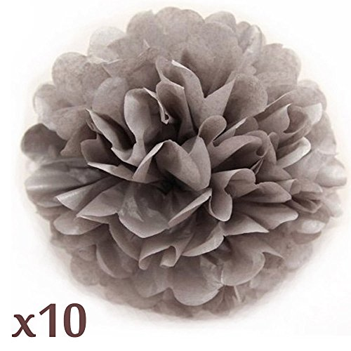 Household Decoration (WOMHOPE 10 Pcs - 10 Inches Tissue Paper Pom Pom Flower Ball Pom-poms - Wedding Party Supplies Party Decorations Birthday Parties Baby)