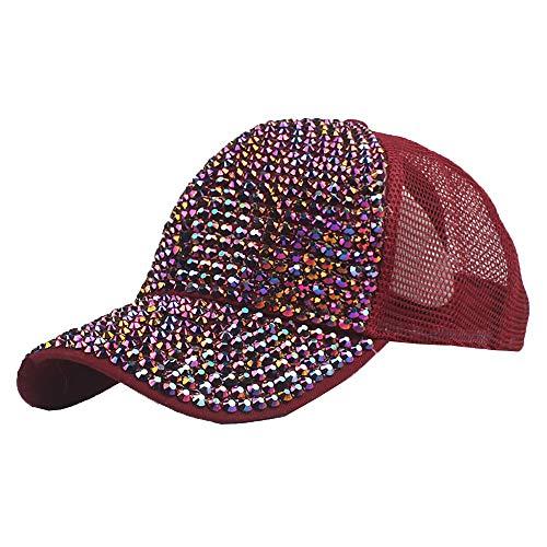 Mitiy Women's Rhinestone Mesh Crown Baseball Caps Studded Bling Ponytail Sun Hat Adjustable