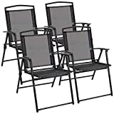 Flamaker Sets of 4 Folding Sling Chairs Portable Patio Chairs Outdoor Lounge Chairs for Pool, Yard, Beach and Camping (Black)