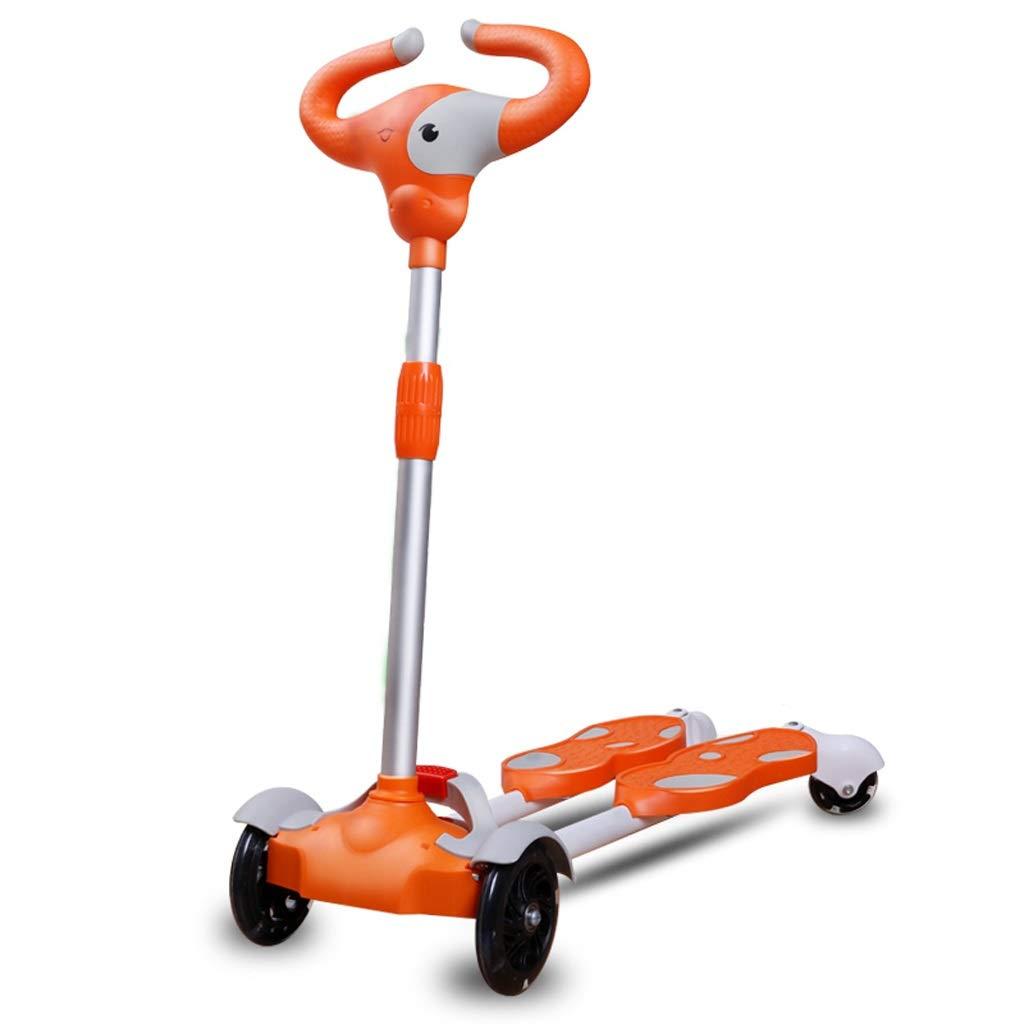 お待たせ! LEDが付いている4つの車輪の振動スクーターは車輪の子供のスクーター2-10歳の子供のためのキックスクーター、男の子/女の子のために、調節可能な高さを調節します:65-85cm Orange) (色 : Orange) Orange (色 B07PTRG237 B07PTRG237, アスケチョウ:02b3a6be --- senas.4x4.lt
