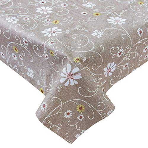 (LOHASCASA Vinyl Oilcloth Tablecloth Rectangle Wipeable Oil-Proof Waterproof PVC Heavy Duty Long Tablecloth Floral Brown Rose 54 x 108 Inch)
