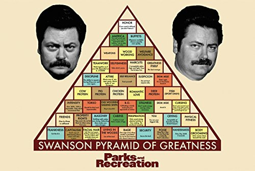 Parks and Recreation Swanson Pyramid of Greatness Television Poster 34 x 22in