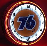 Nostalgic Oil & Gas 18'' Neon Clock with Tin Metal Sign Union 76 Gasoline