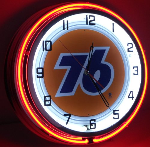 "Nostalgic Oil & Gas 18"" Neon Clock with Tin Metal Sign Union 76 Gasoline"