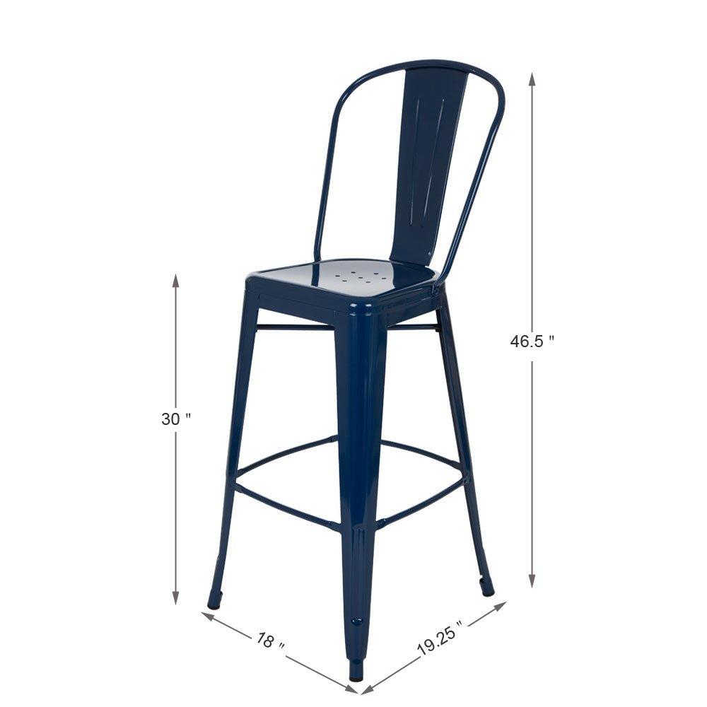 JK85029 Glitzhome 1005002999 Red Metal Bar Stool 2 Set