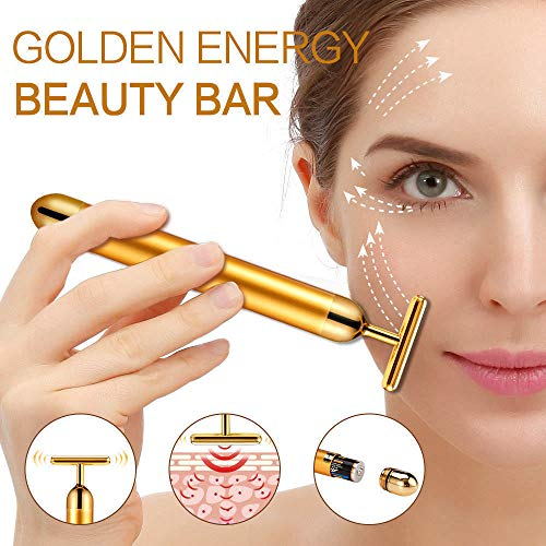 24k Golden Beauty Bar,Electronic Facial Roller Waterproof Micro Vibrating Massager for Face Lifting,Anti-Aging Machine-Slimming Cheeks Skin Tightening Anti Wrinkle (24K T-Shape bar)