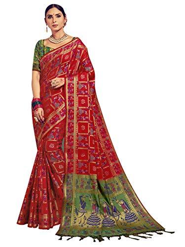 Sarees for Women Banarasi Kanjivaram Art Silk Woven Saree l Indian Ethnic Wedding Gift Sari with Unstitched Blouse Red